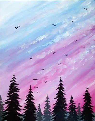 A Pastel Skies paint nite project by Yaymaker