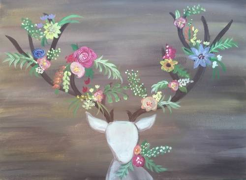 A Flowers For My Deer paint nite project by Yaymaker