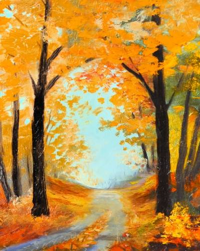 A Autumn Road paint nite project by Yaymaker
