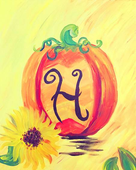 A Monogram Fall Pumpkin paint nite project by Yaymaker
