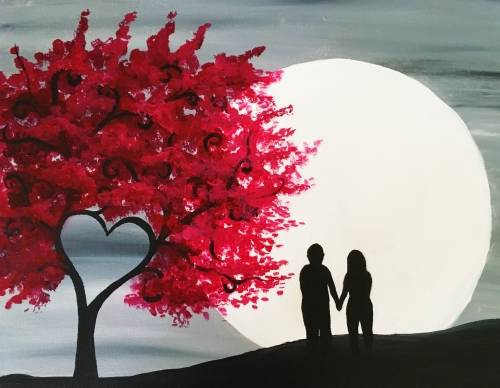 A Red Heart Tree in Moonlight paint nite project by Yaymaker