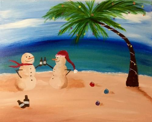 A Sandy Snowmen Holiday paint nite project by Yaymaker