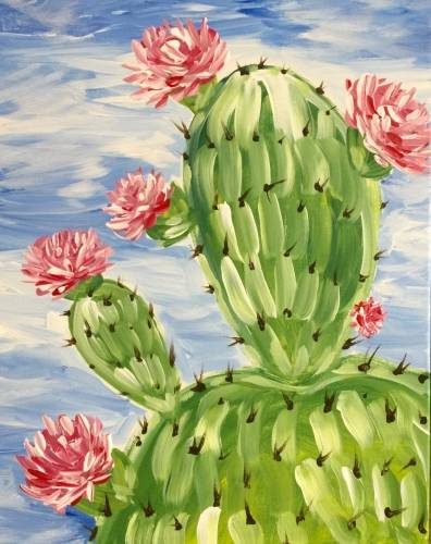 A Cactus Flowers paint nite project by Yaymaker