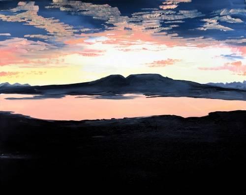 A Alaska Series Sleeping Lady Sunset paint nite project by Yaymaker