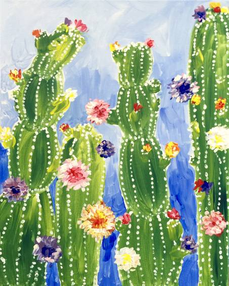 A Rainbow Cactus Flowers paint nite project by Yaymaker