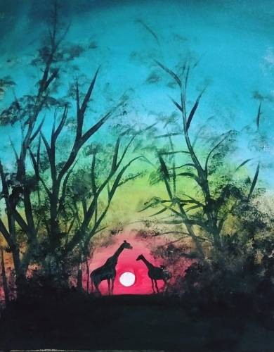 A Giraffes In Forest paint nite project by Yaymaker