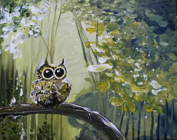 A Fantasy Abstract Owl paint nite project by Yaymaker