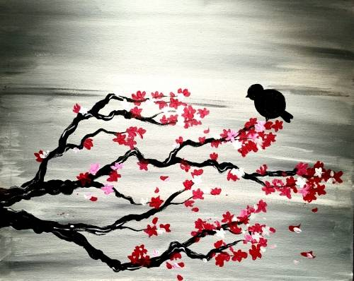 A Chinese Cherry Blossoms paint nite project by Yaymaker