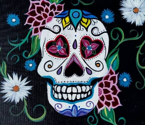 A Hearts and Flowers Skull paint nite project by Yaymaker