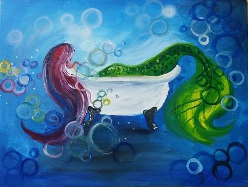A Mermaid Bubble Bath paint nite project by Yaymaker