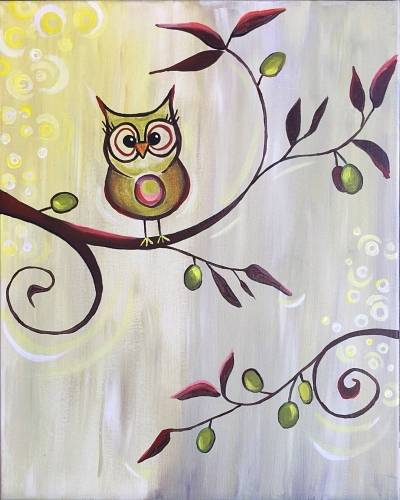 A The Owl on the Olive Branch paint nite project by Yaymaker