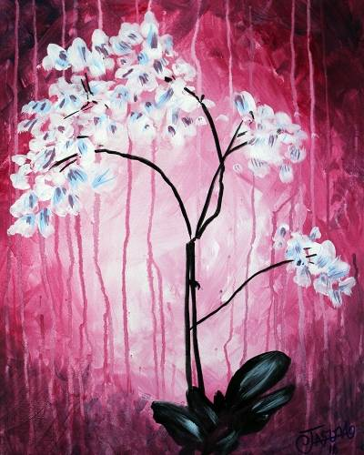 A The 2nd Best Orchid Painting paint nite project by Yaymaker