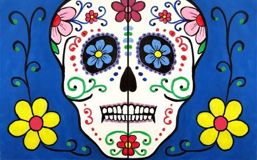 A Azul Mexican Calavera Sugar Skull Partner Painting paint nite project by Yaymaker