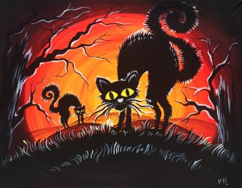 A Halloween Cats paint nite project by Yaymaker