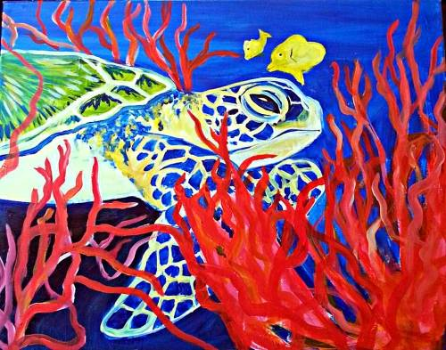 A Coral Sea Turtle paint nite project by Yaymaker