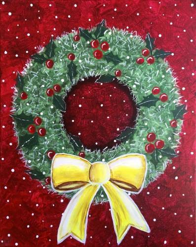 A Holiday Snowy Christmas Wreath paint nite project by Yaymaker