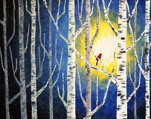 A Cardinal in the Birches horizontal paint nite project by Yaymaker