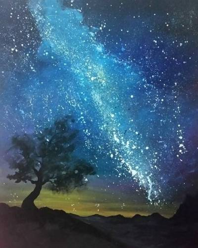 A The Milky Way for the First Time paint nite project by Yaymaker