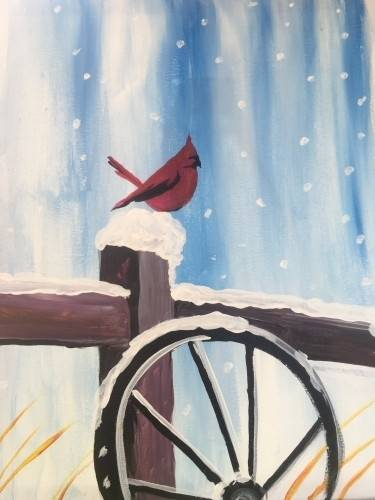 A Cold Little Cardinal paint nite project by Yaymaker