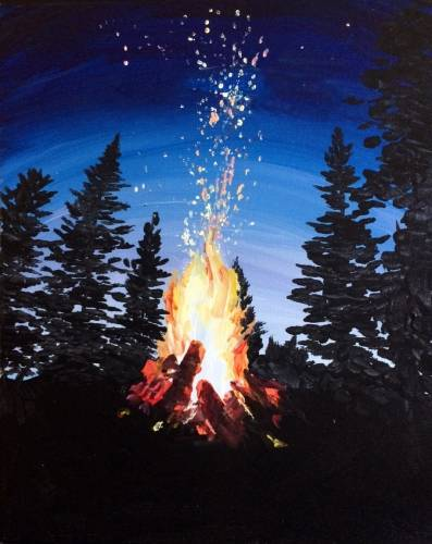 A Flickering Flames paint nite project by Yaymaker