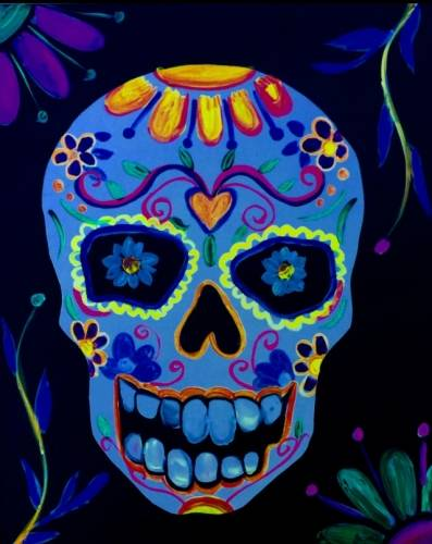 A Calavera Sugar Skull in Black Light paint nite project by Yaymaker