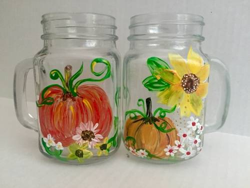 A Pumpkin Patch Mason Jar paint nite project by Yaymaker