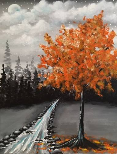 A Orange into Night paint nite project by Yaymaker