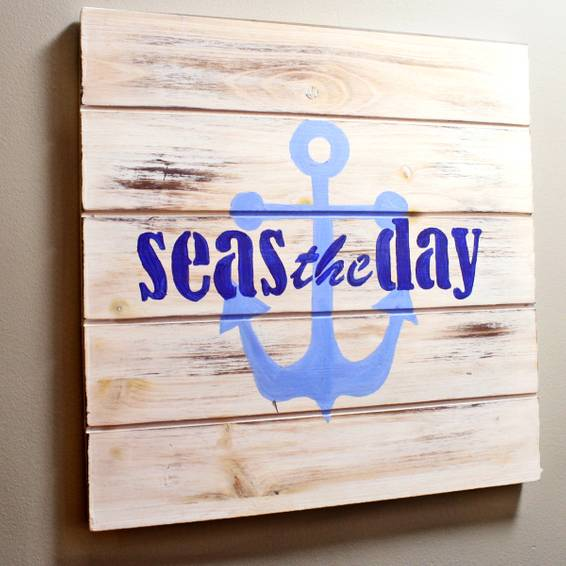A Seas the Day  Light Wash Rustic Wooden Sign paint nite project by Yaymaker
