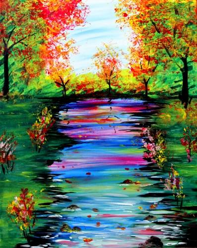 A Fall Stream paint nite project by Yaymaker