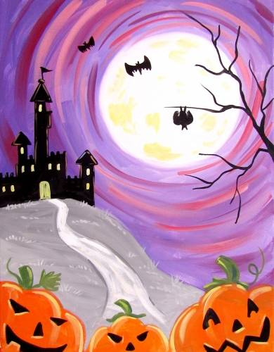 A Full Moon Halloween Fun paint nite project by Yaymaker