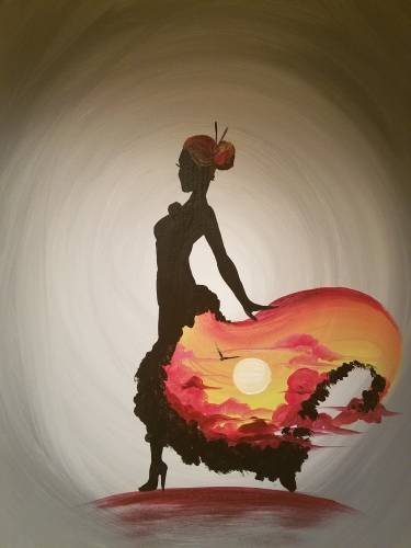 A Lady Sunrise paint nite project by Yaymaker