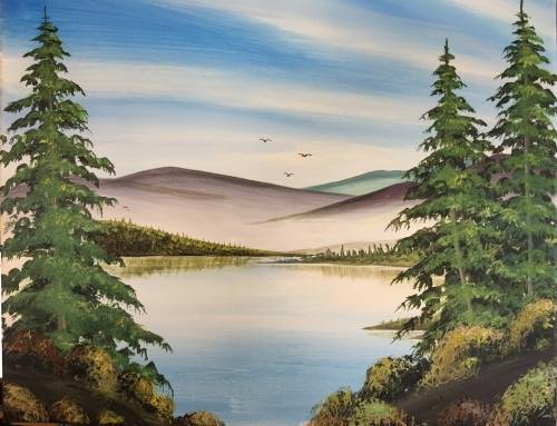 A Happy Little Trees paint nite project by Yaymaker
