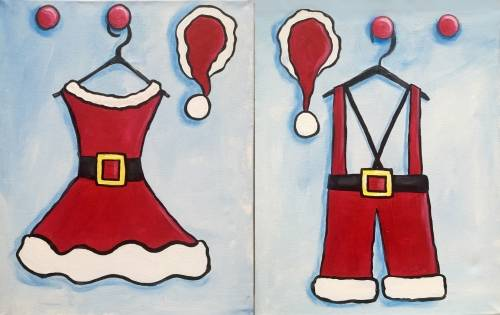 A Mr and Mrs Claus Partner Painting paint nite project by Yaymaker