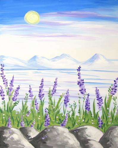 A Lavenders on the Rocky Shore paint nite project by Yaymaker