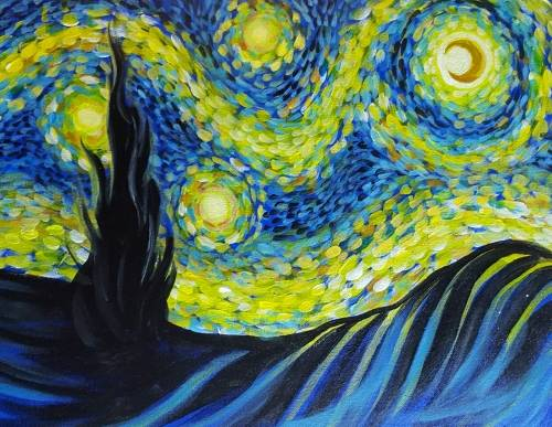 A Fanciful Starry Night paint nite project by Yaymaker