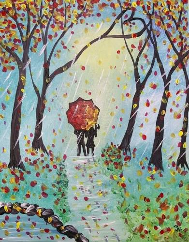 A Love on a Rainy Fall Day paint nite project by Yaymaker