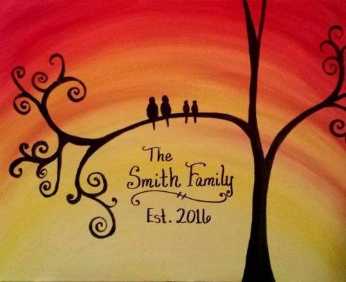 A Established Family Tree paint nite project by Yaymaker