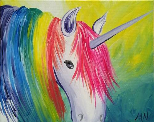 A Rainbow Unicorn paint nite project by Yaymaker