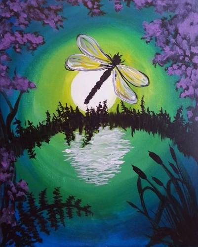 A Dragonfly by Moonlight paint nite project by Yaymaker