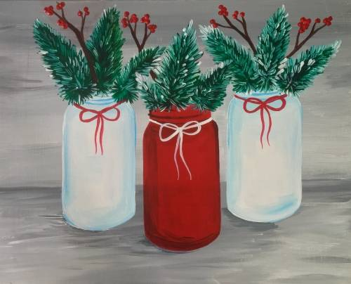 A Holiday Jars paint nite project by Yaymaker