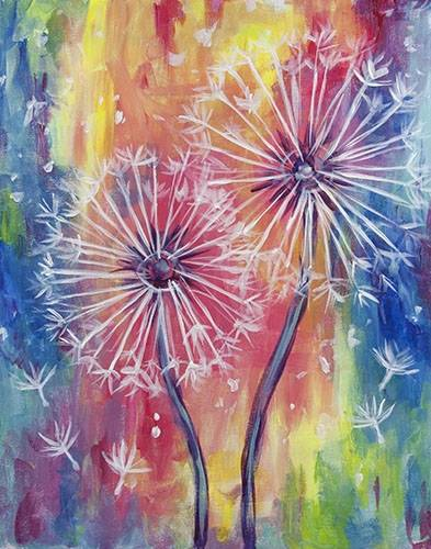 A Rainbow Dandelions paint nite project by Yaymaker