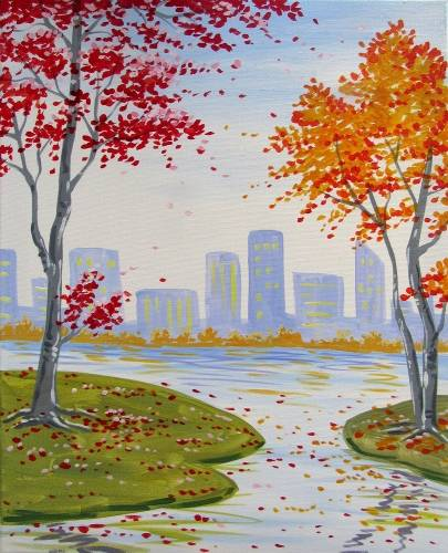 A Fall in the City II paint nite project by Yaymaker