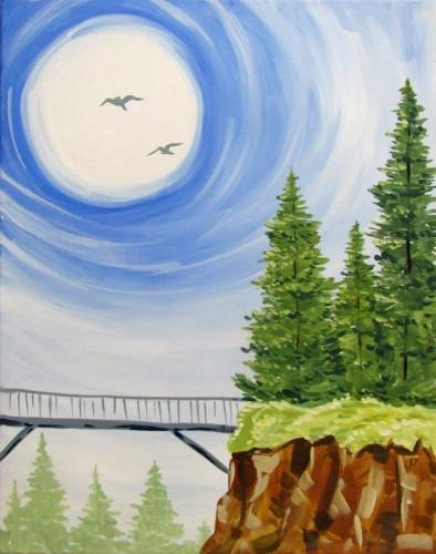 A Evergreens and a Bridge paint nite project by Yaymaker