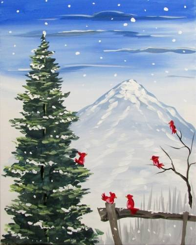 A Winter Cardinals ll paint nite project by Yaymaker