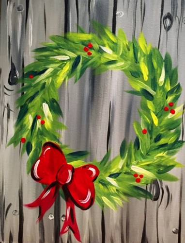A Holiday Red Bow Wreath paint nite project by Yaymaker