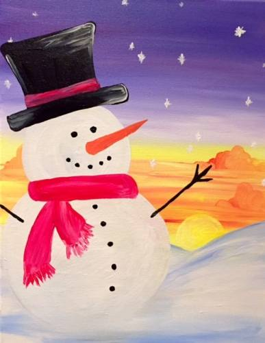 A Sunset Snowman paint nite project by Yaymaker