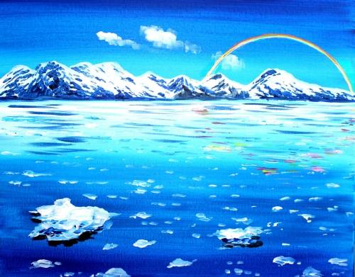 A Rainbow Glacier Bay paint nite project by Yaymaker