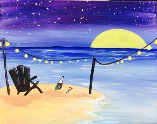 A Moon Rise on the Beach paint nite project by Yaymaker