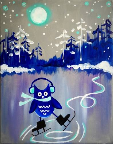A Whoooo Says Owls Dont Ice Skate paint nite project by Yaymaker