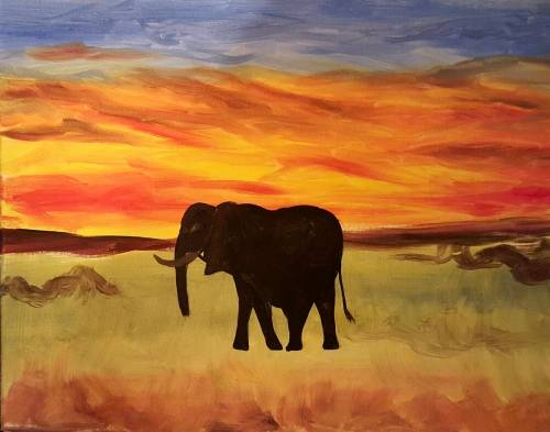 A A Safari Elephant Run paint nite project by Yaymaker